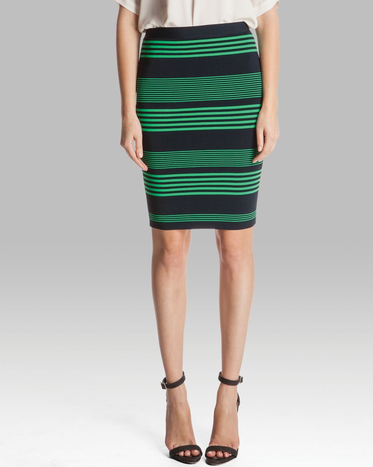pencil skirt striped knit sweater in green lyst