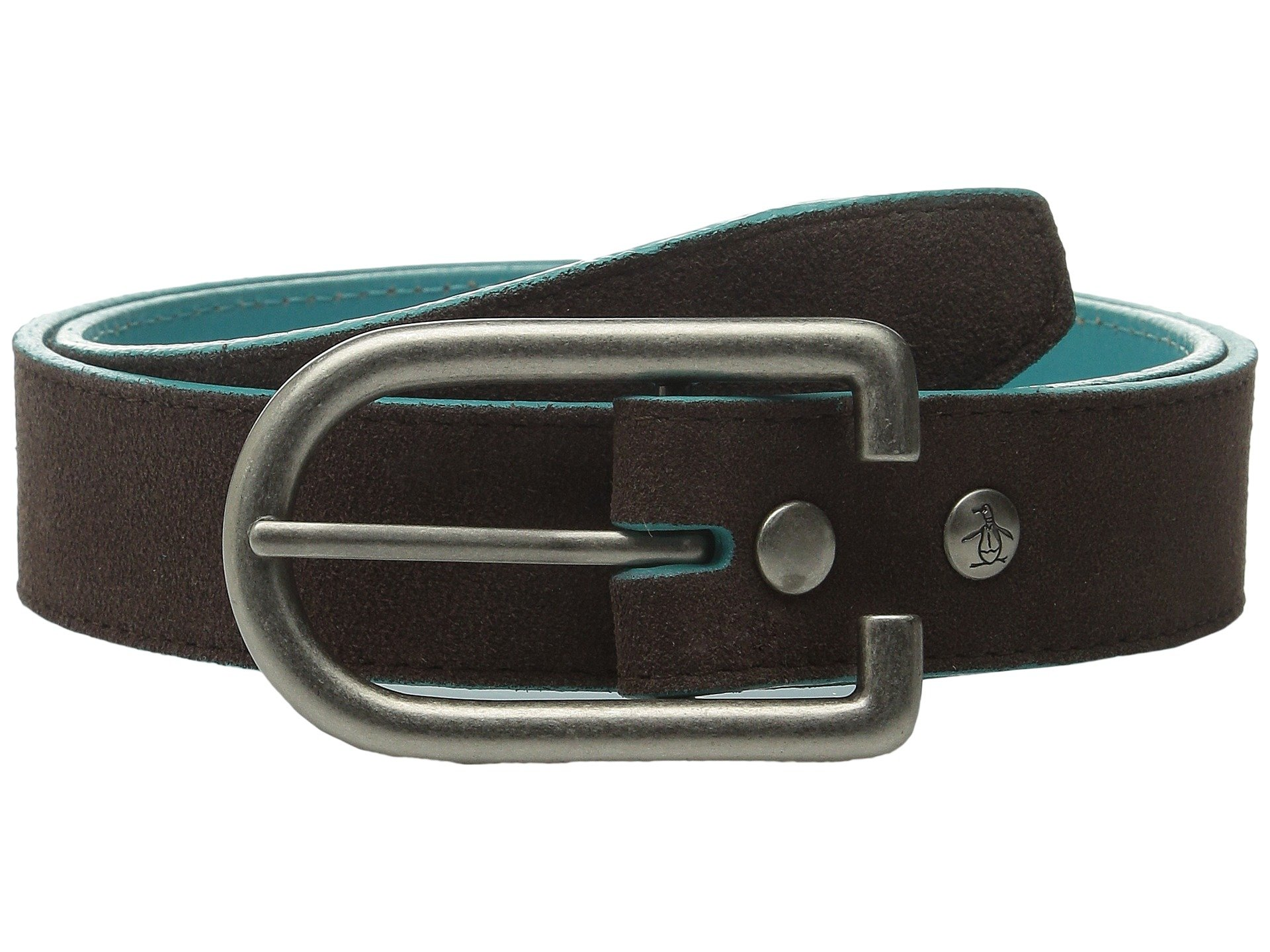 original penguin suede leather belt in brown for lyst