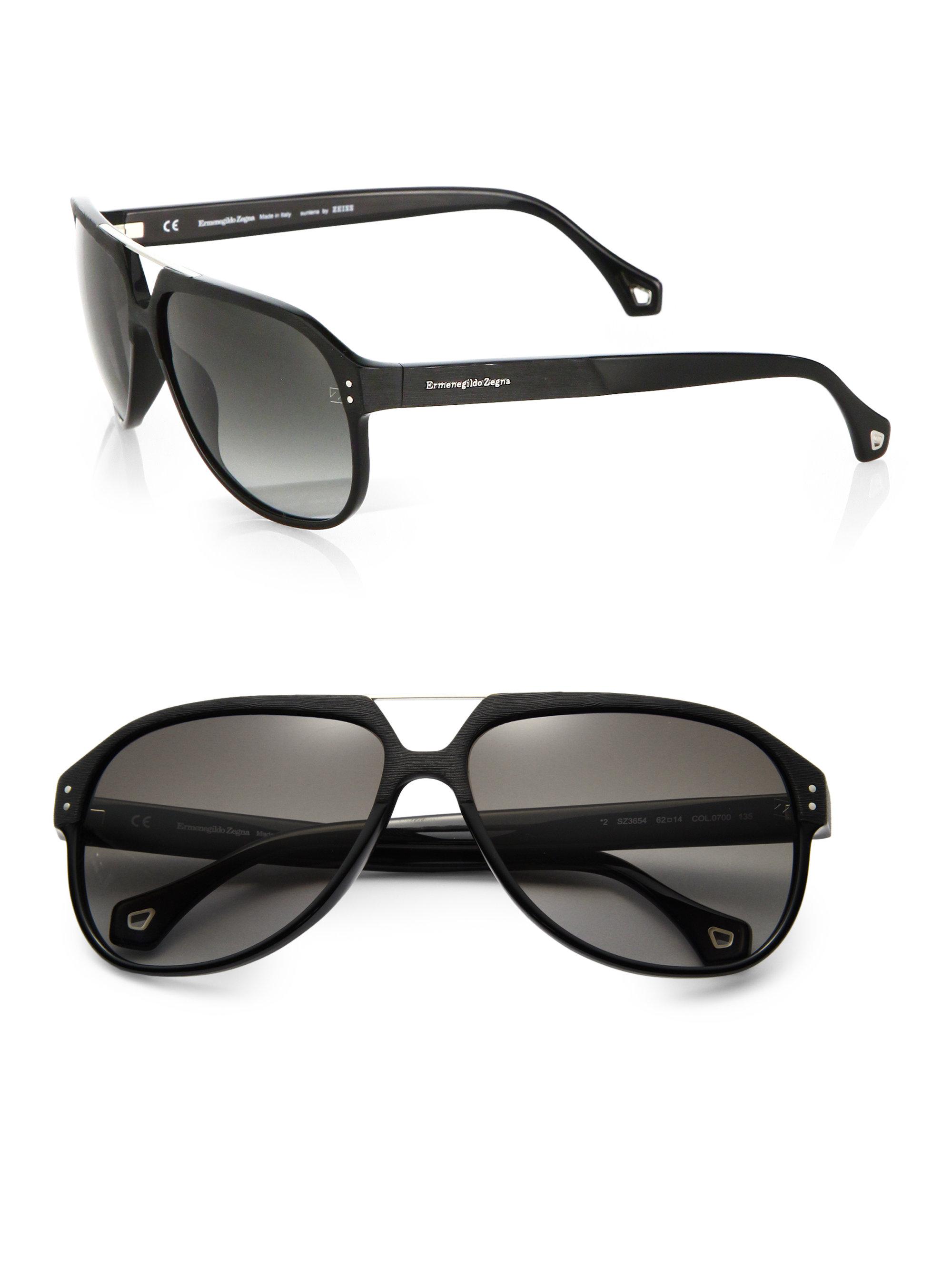 4b77ecfc Ermenegildo Zegna Black Resin Aviator Sunglasses for men