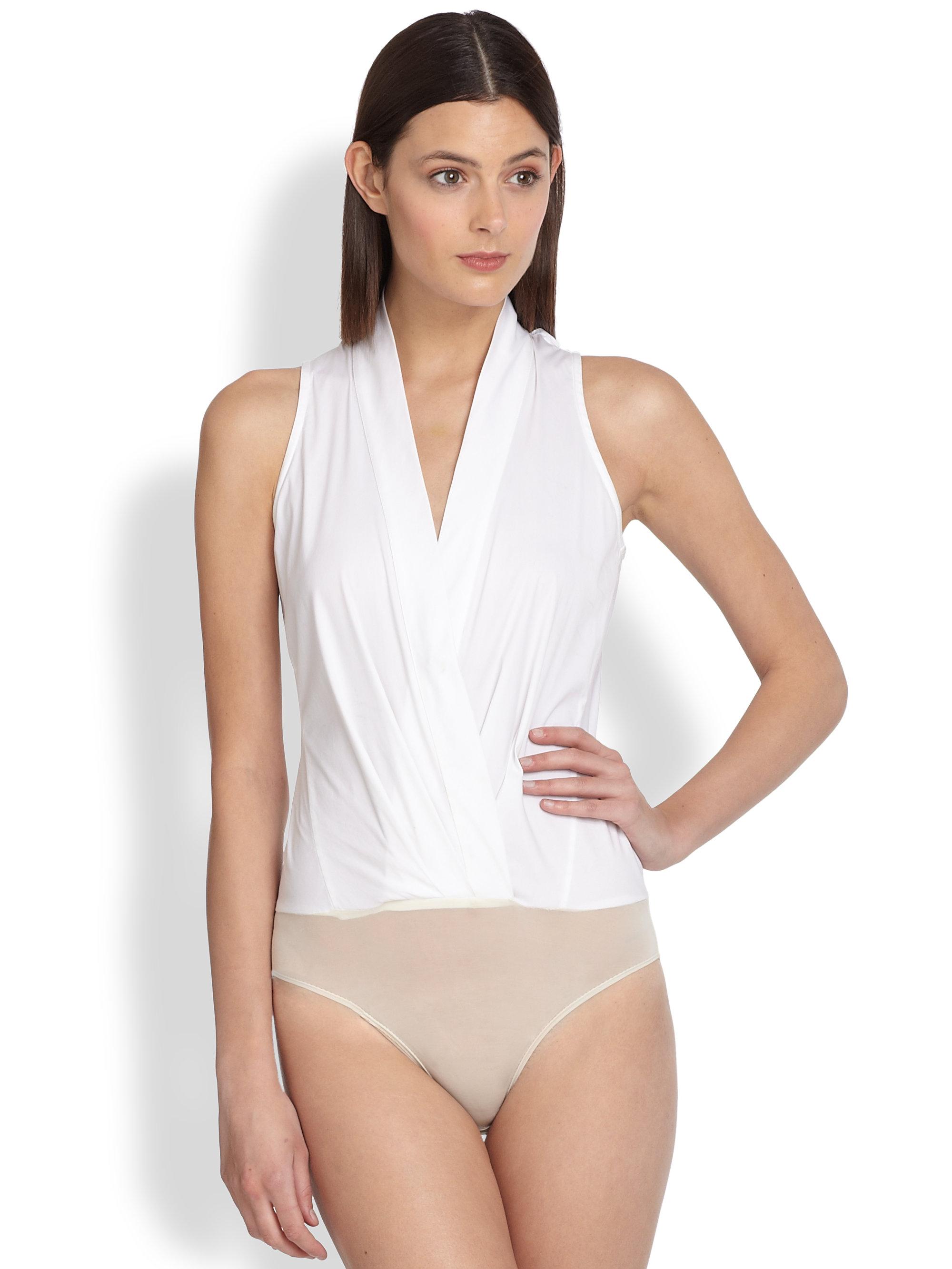 f25033542dd3 Donna Karan Wrap Bodysuit in White - Lyst