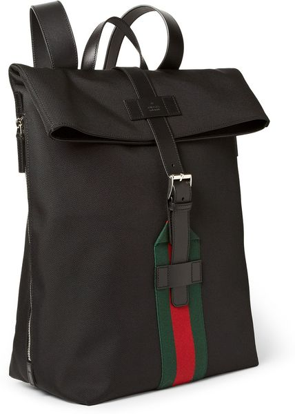 Gucci Leathertrimmed Canvas Backpack in Black for Men | Lyst
