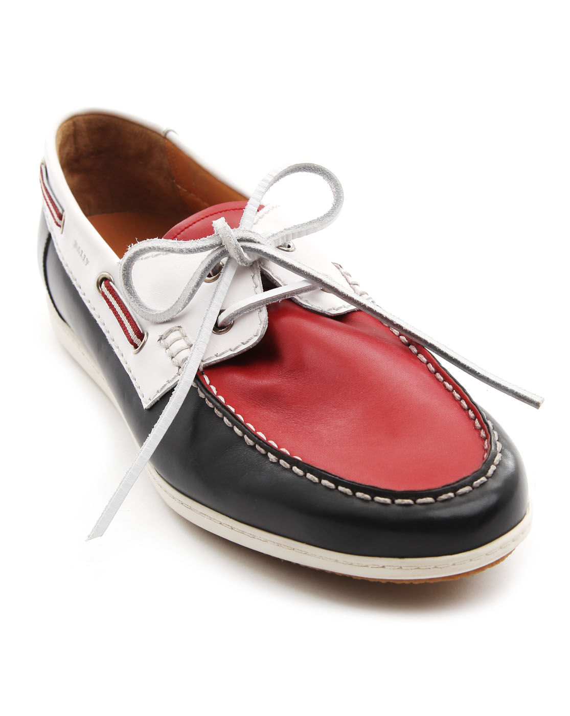Bally Udal Red White and Blue Leather Boat Shoes in Blue for Men (red