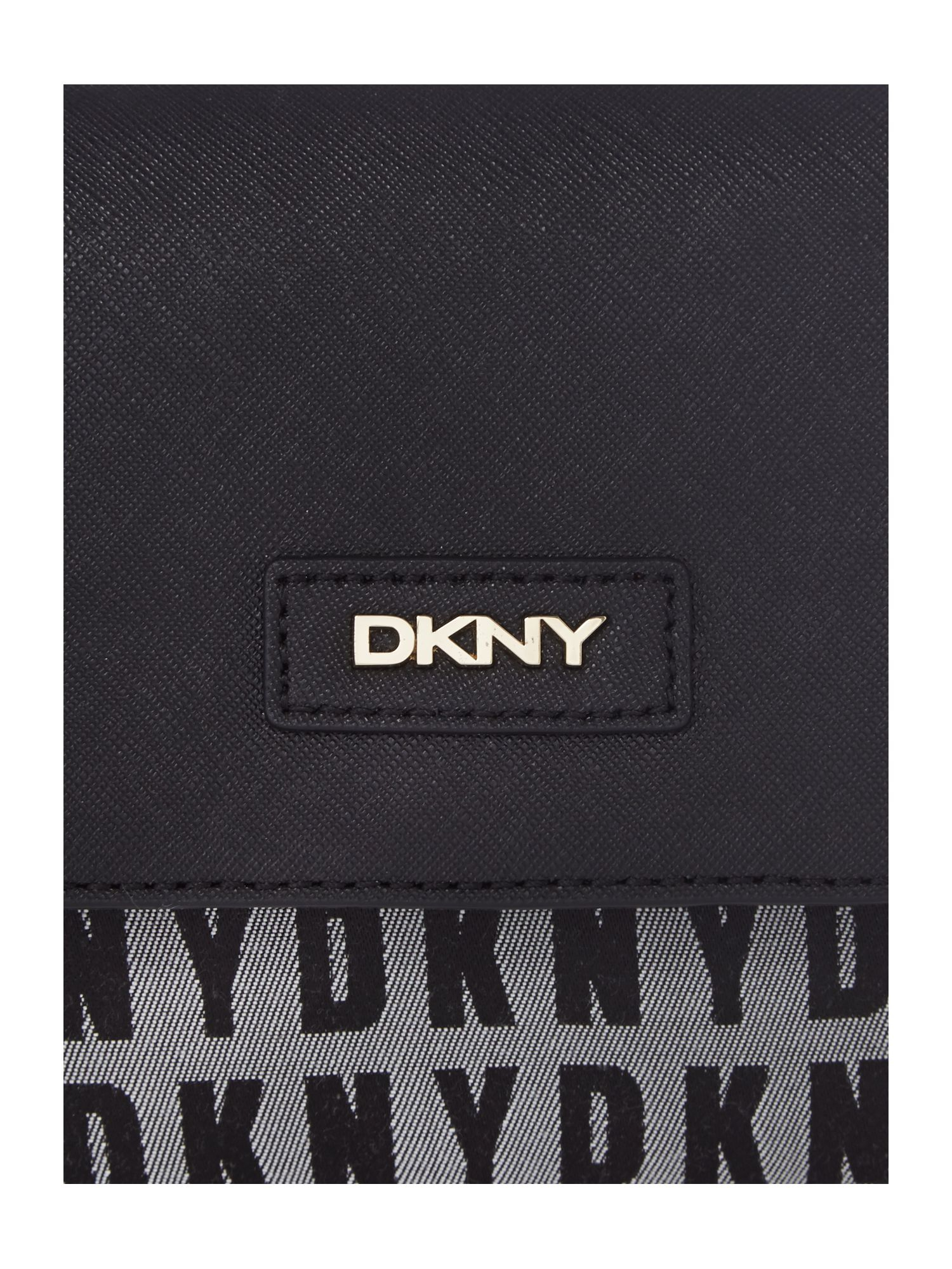 DKNY Black Small Flap Over Chain Cross Body Bag in Grey