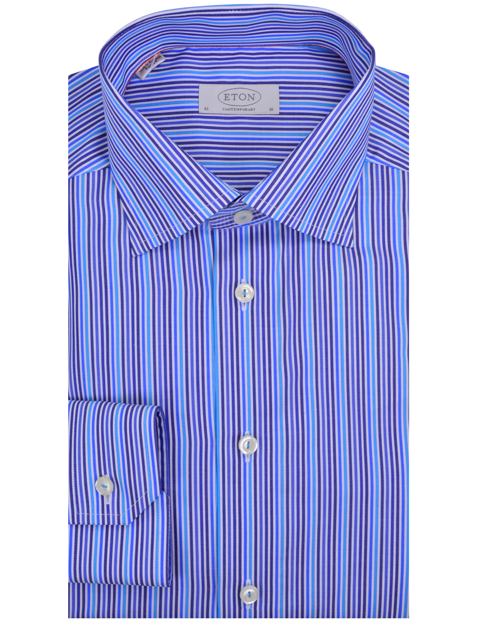 Eton Of Sweden Navy And Aqua Stripe Dress Shirt In Blue