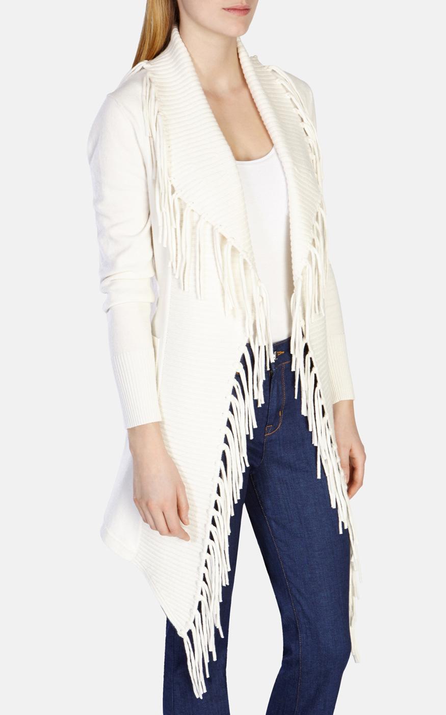 Karen Millen Cashmere Fringed Knit Long Cardigan in White