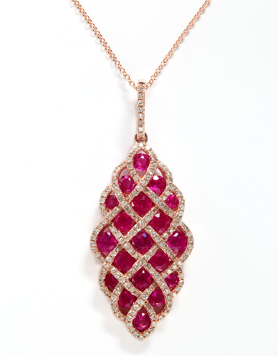 pendant heart diamond beautiful necklace ruby red with in rg gold fd jewelry nl design rose
