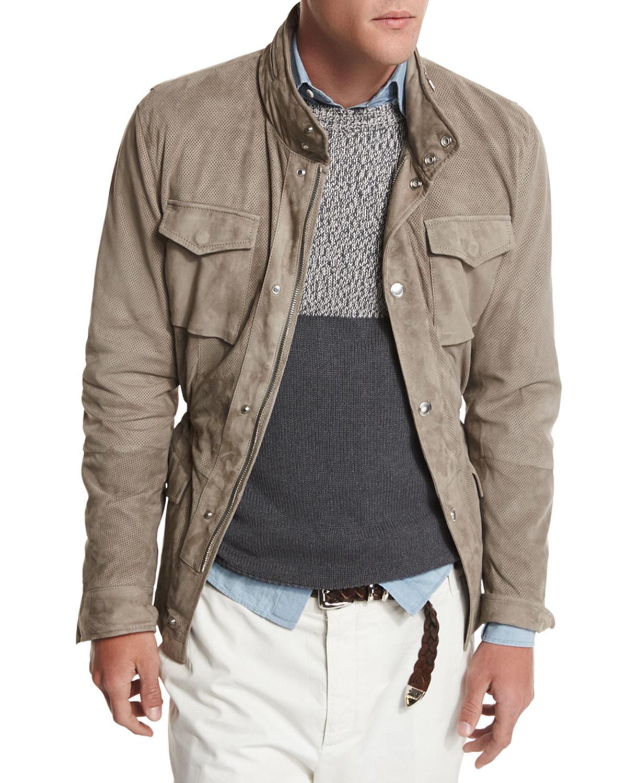 Lyst Brunello Cucinelli Suede Safari Jacket In Gray For Men