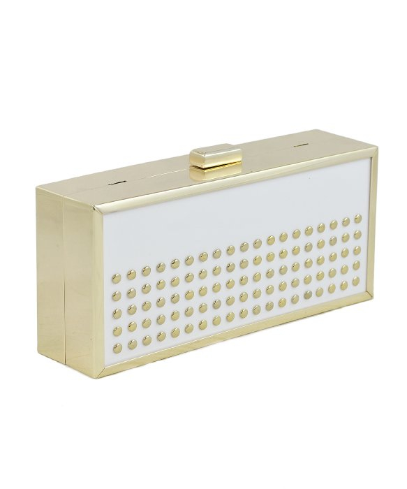 la regale lucite framed clutch with studs in white lyst. Black Bedroom Furniture Sets. Home Design Ideas
