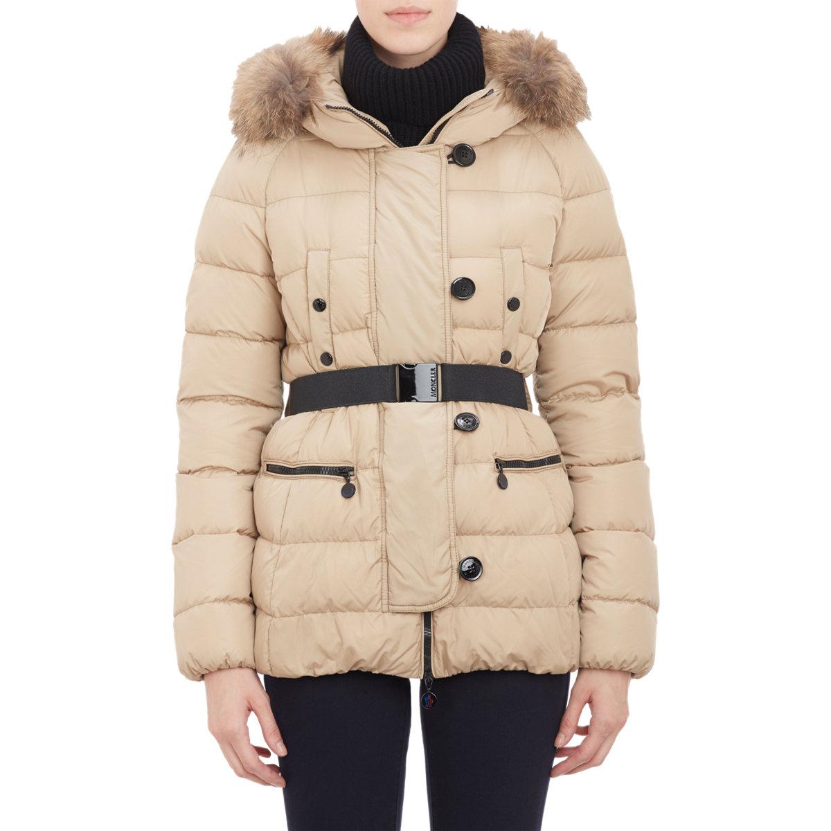 Lyst Moncler Fur Trimmed Hood Gene Puffer Jacket In Brown