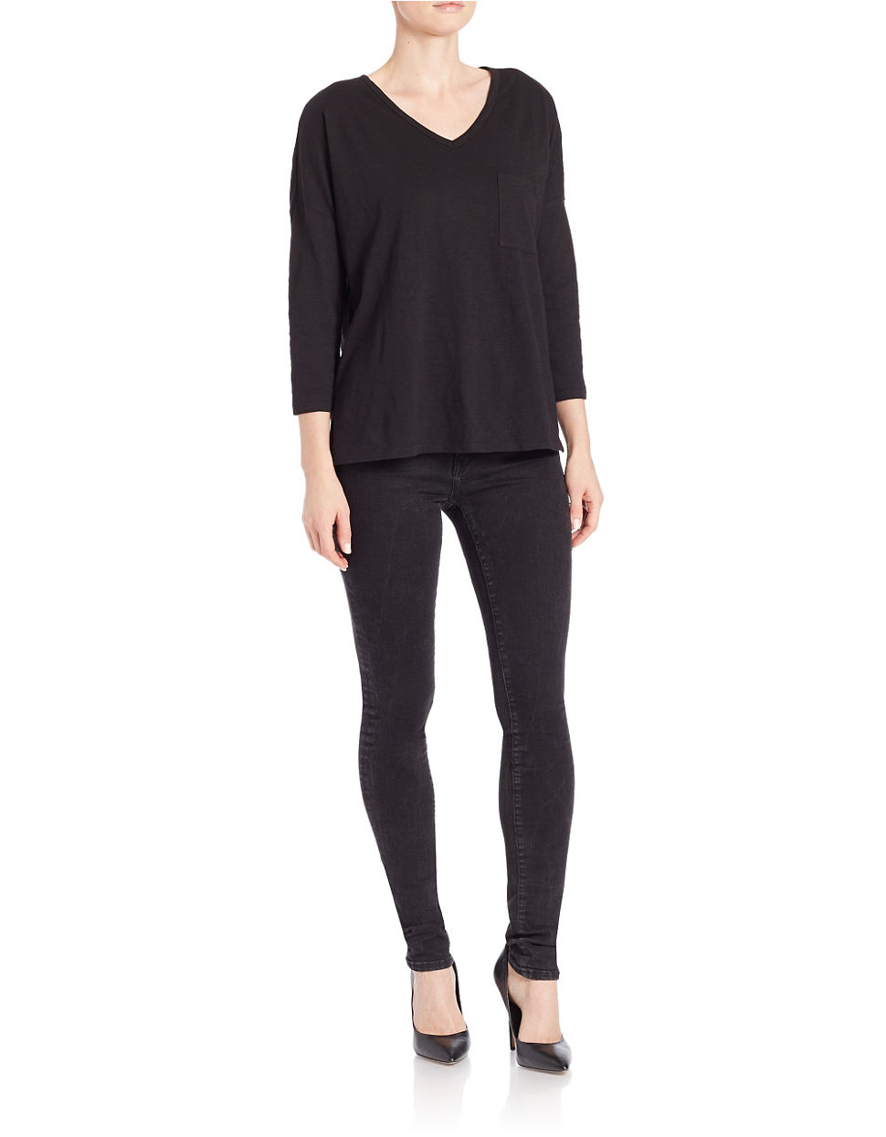 Lord Taylor Petite Pullover Dolman Tee In Black Lyst