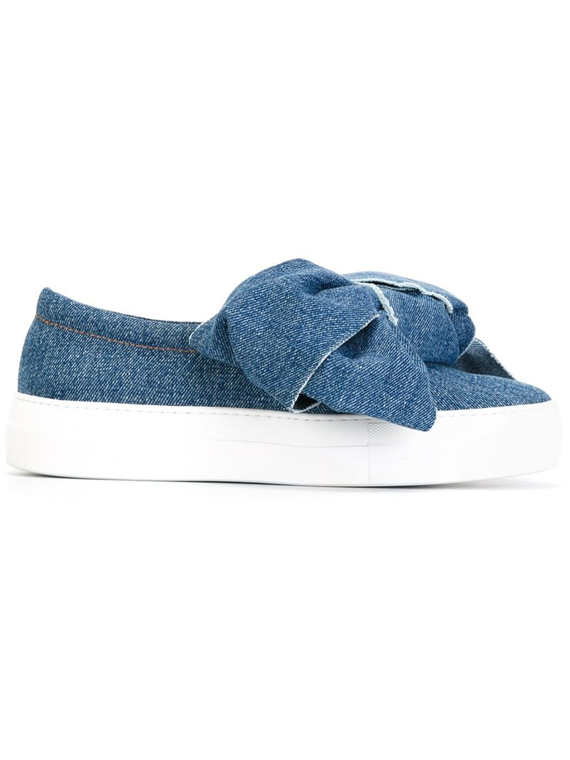 Joshua Sanders Bow Denim Slip On Sneakers In Blue Lyst