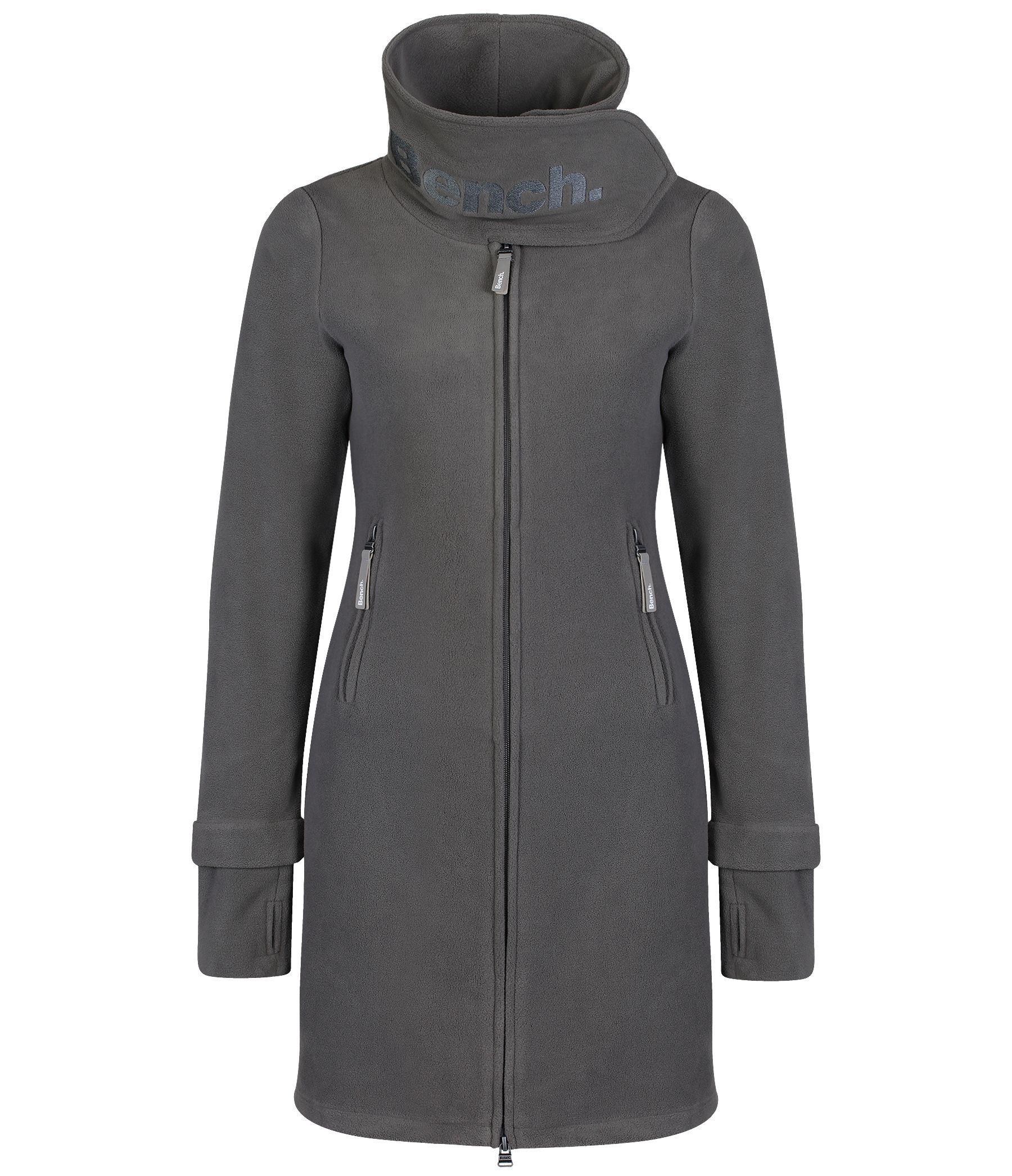 Bench Long Neck Zip Up Fleece Jacket In Gray Lyst
