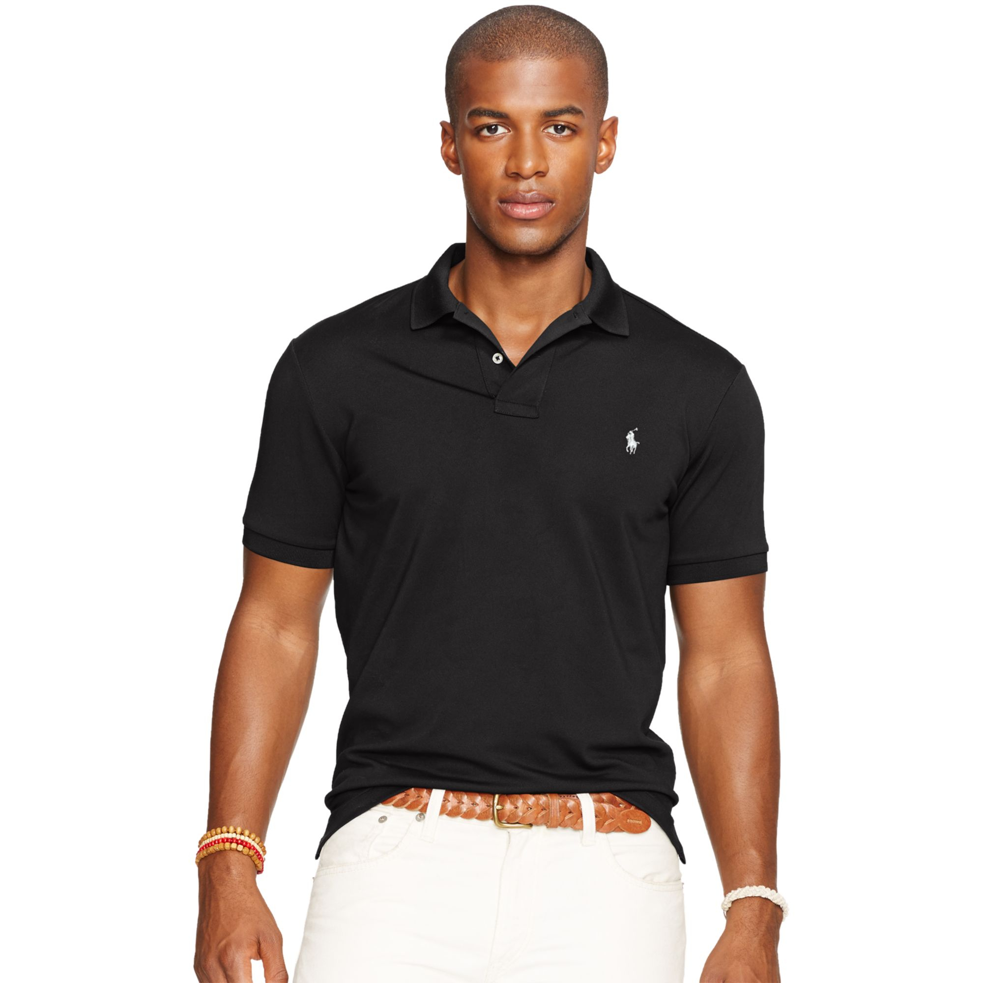 polo ralph lauren performance mesh polo shirt in black for men polo black lyst. Black Bedroom Furniture Sets. Home Design Ideas