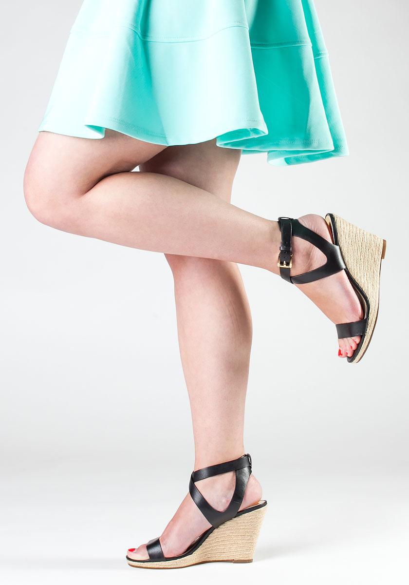 Kaylee Wedge Sandals in Black Leather