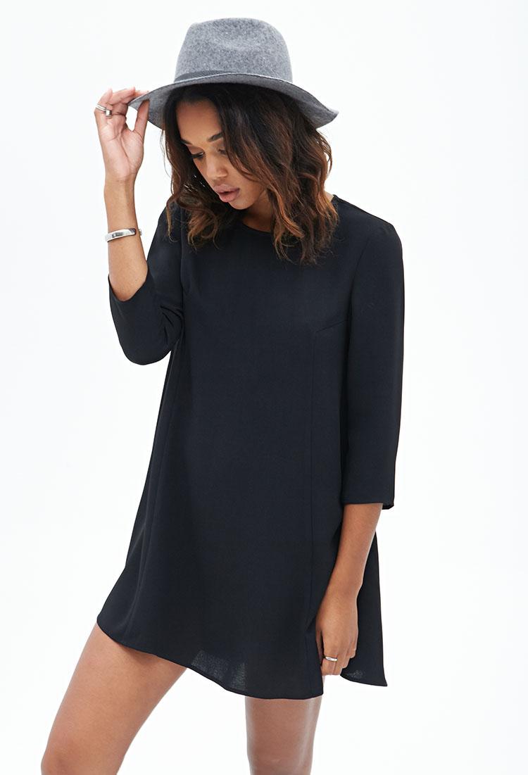 Sleeve Long black shift dress best photo