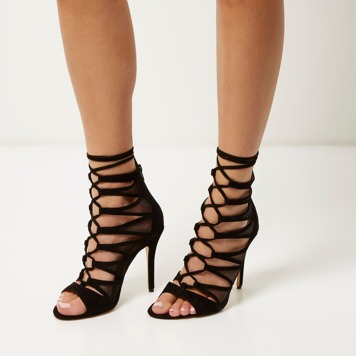 8202e2d0b7a River Island Black Suede Lace-up Caged Heels