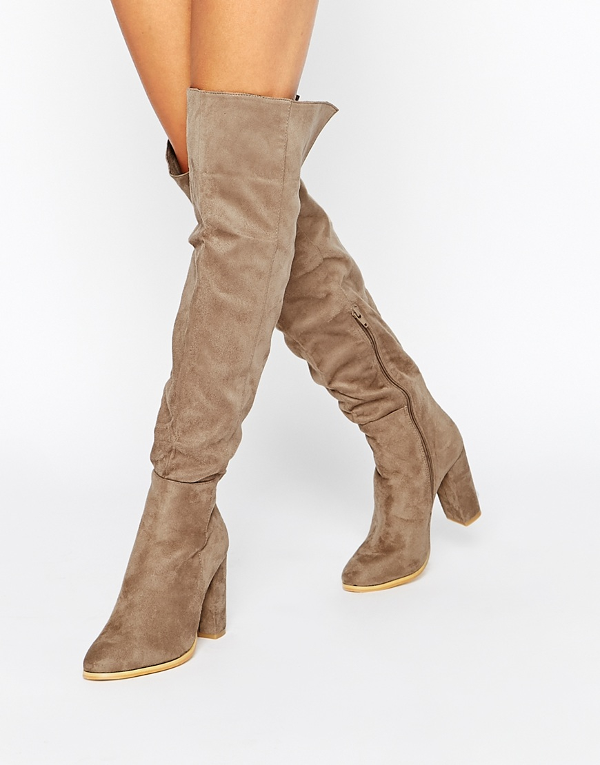 Daisy street Taupe Block Heel Over The Knee Boots in Brown | Lyst