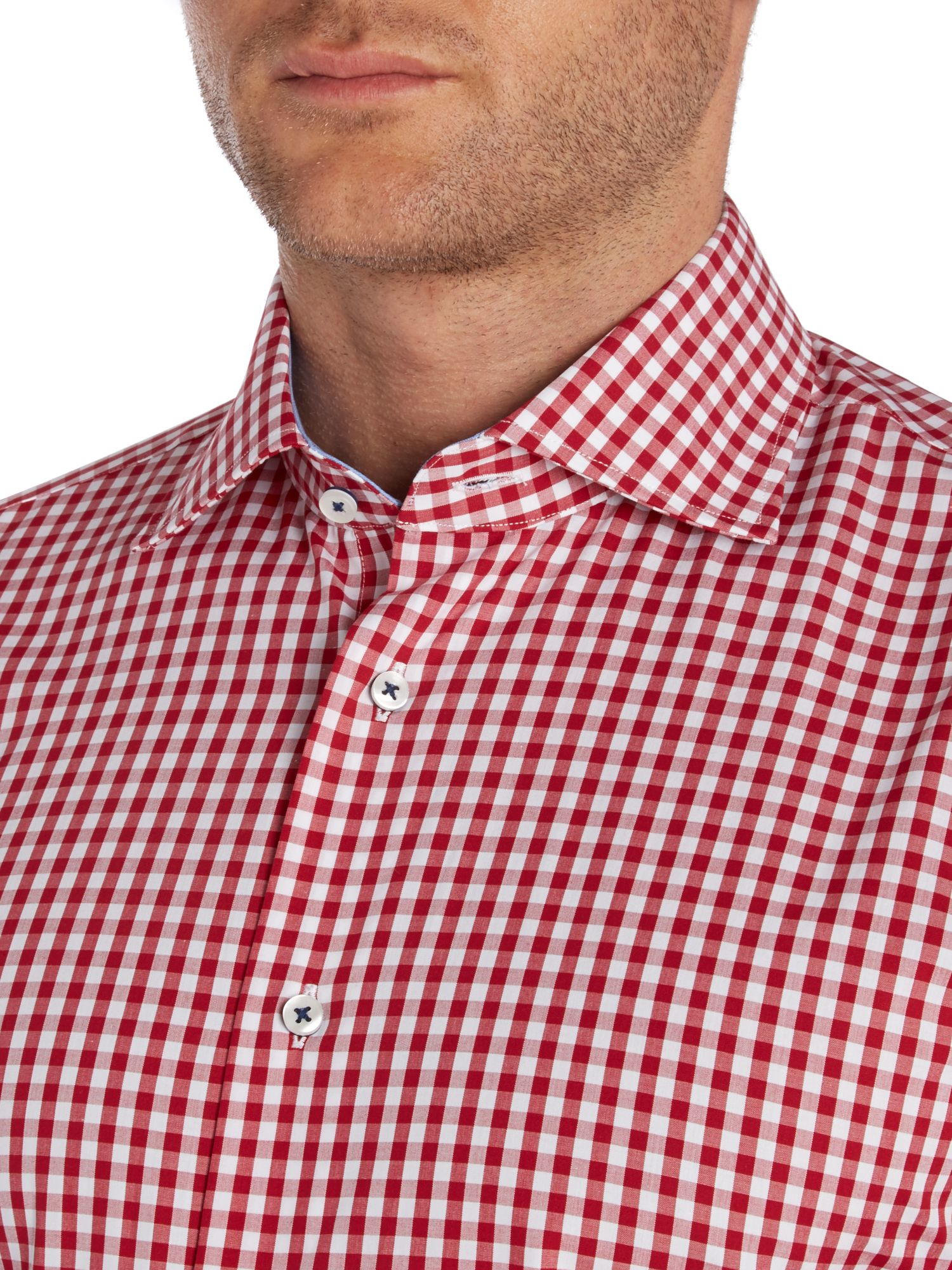 Lyst tommy hilfiger slim fit gingham shirt in red for men for Slim fit gingham check shirt
