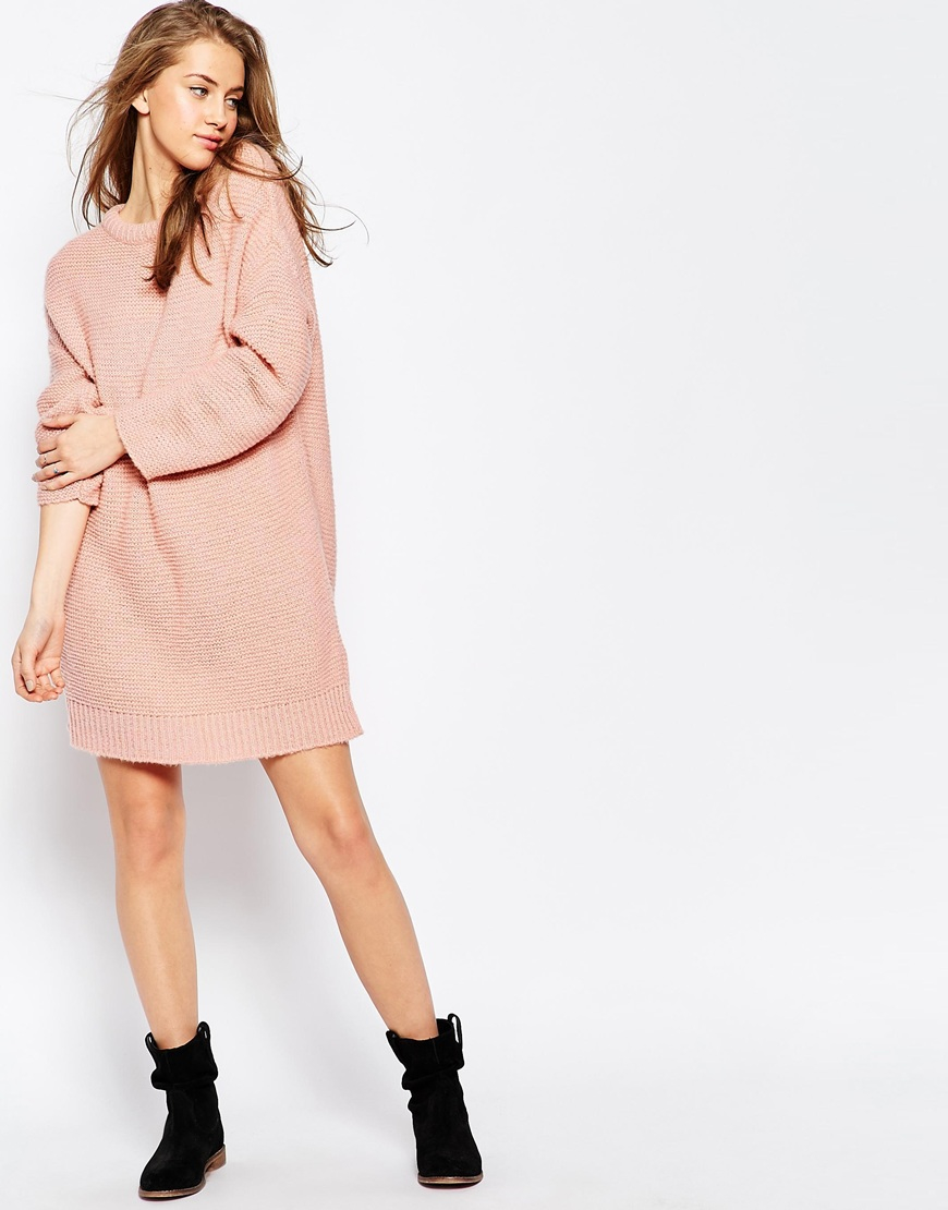 Asos Oversized Jumper Dress In Chunky Knit in Pink Lyst