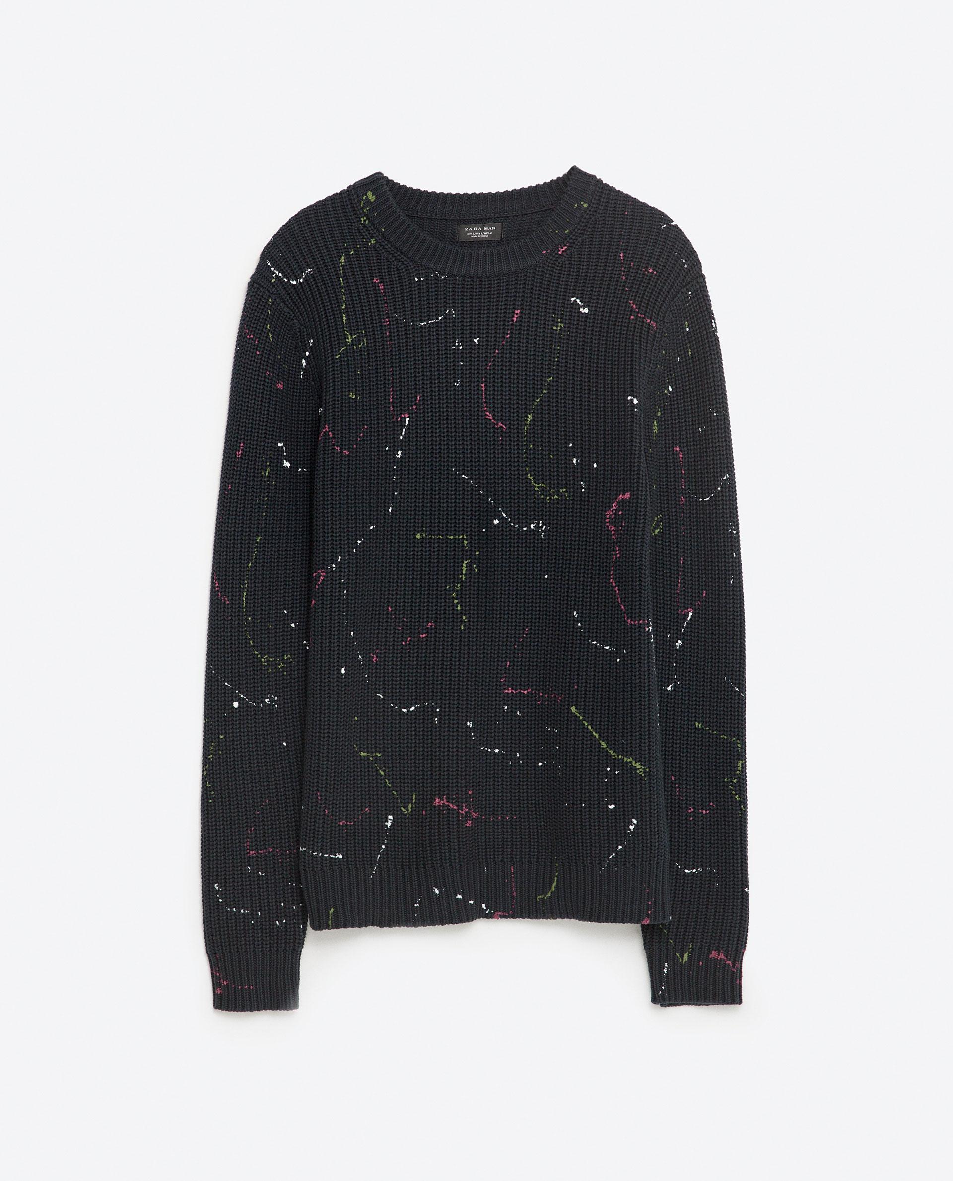 Zara Paint Splatter Sweater in Black for Men