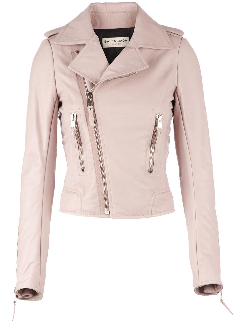 Balenciaga Biker Jacket in Pink | Lyst