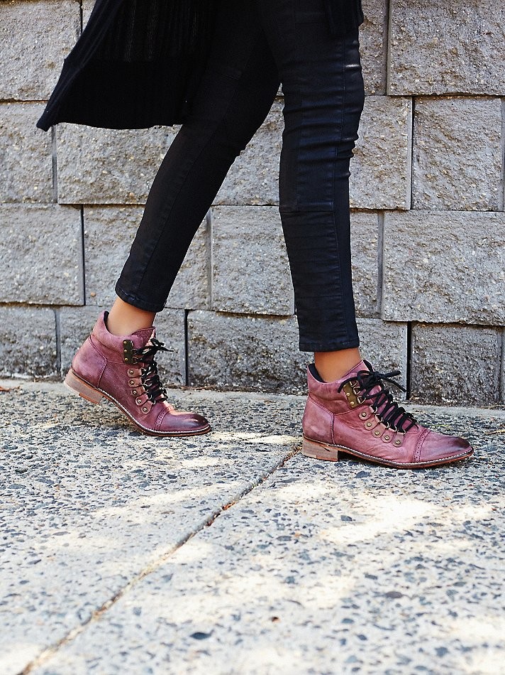 Free People Leather Ventura Hiker Boot in Berry (Purple)