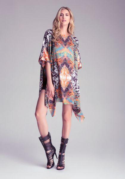 Bebe Printed Kaftan Dress