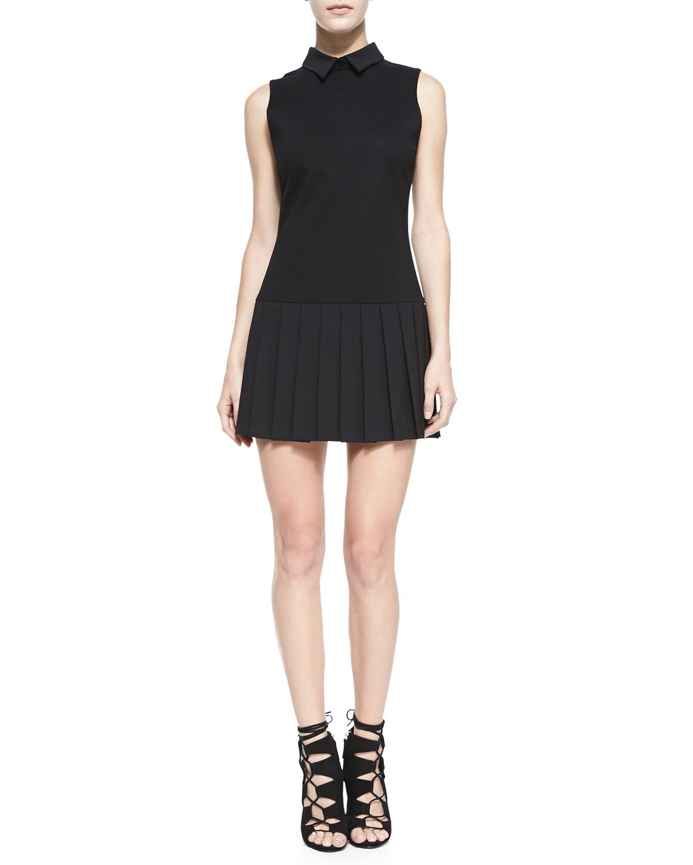 drop waist pleated skirt dress
