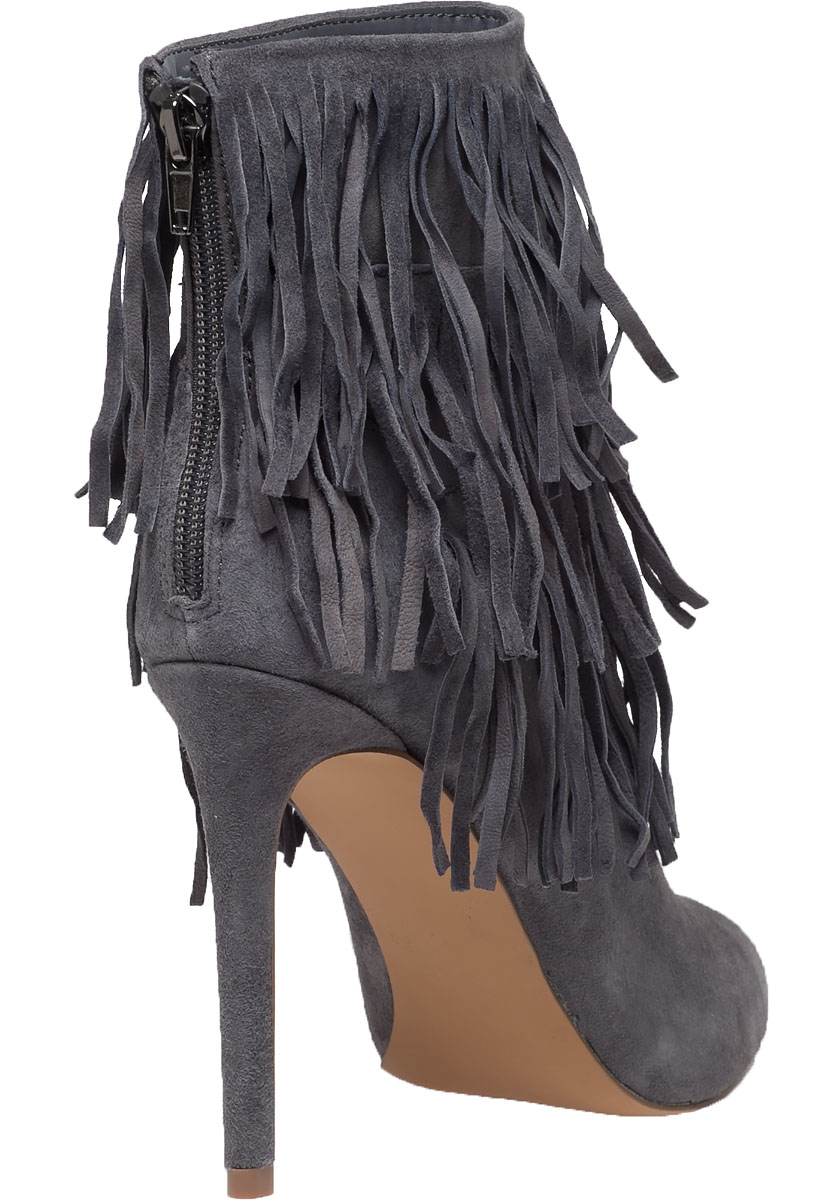a3f3b155fa5 Lyst - Steve Madden Flapper Fringed Suede Ankle Boots in Gray