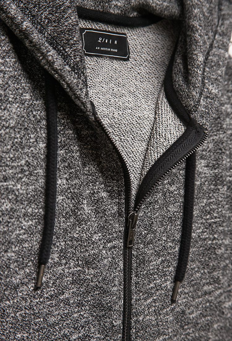 Forever 21 Marled Knit Zippered Hoodie in Black for Men Lyst