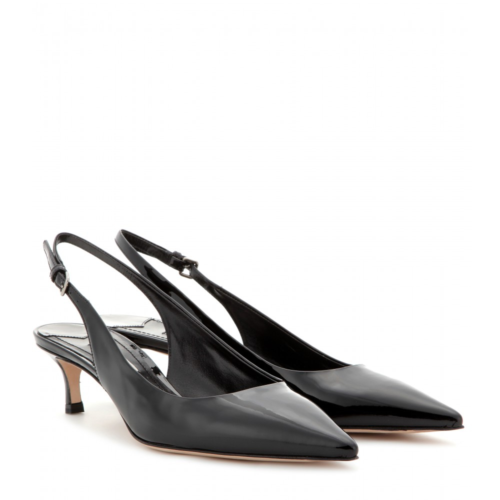 Miu miu Patent-Leather Sling-Back Kitten-Heel Pumps in Black | Lyst