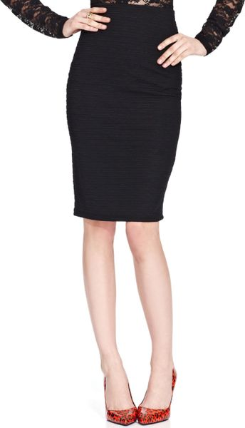 material juniors textured pencil skirt in black