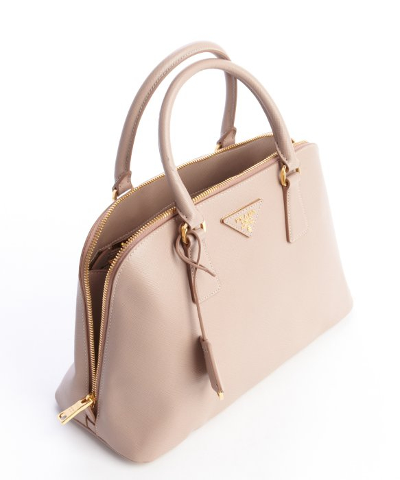 35924a35f2e4 ... inexpensive lyst prada camel saffiano leather double zip top handle  handbag in natural 3869d ecd69