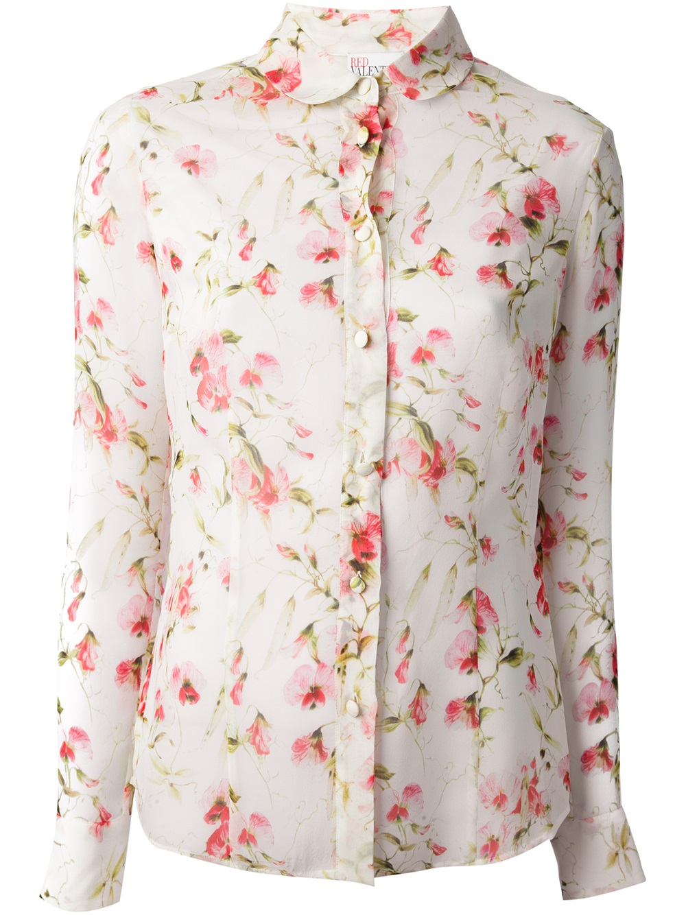 Lyst red valentino floral print shirt in white gallery mightylinksfo