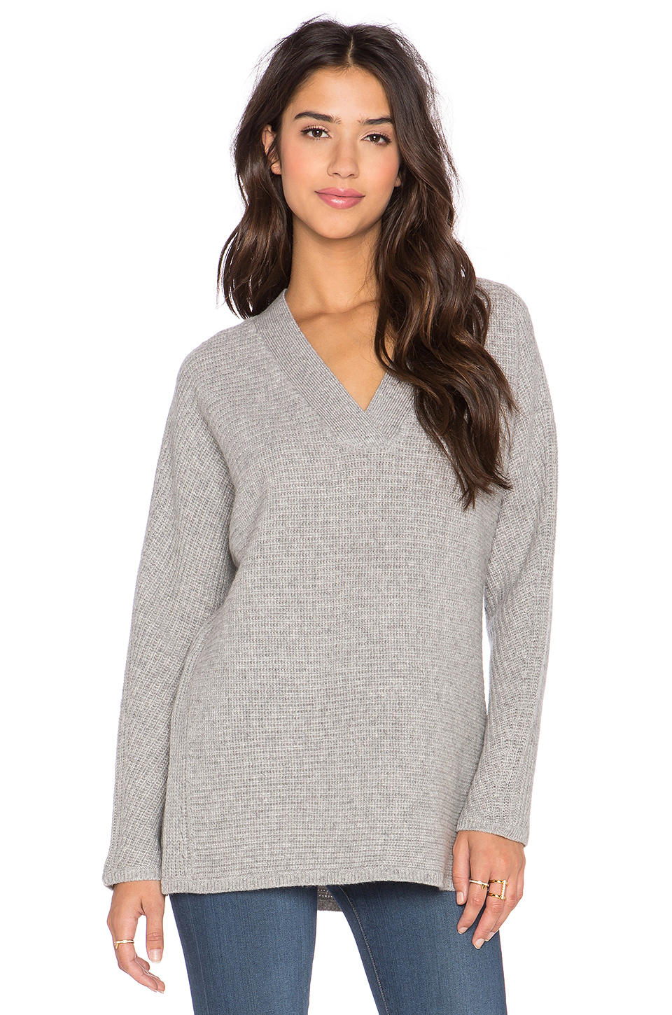 Vince Traveling Rib V Neck Sweater in Gray | Lyst