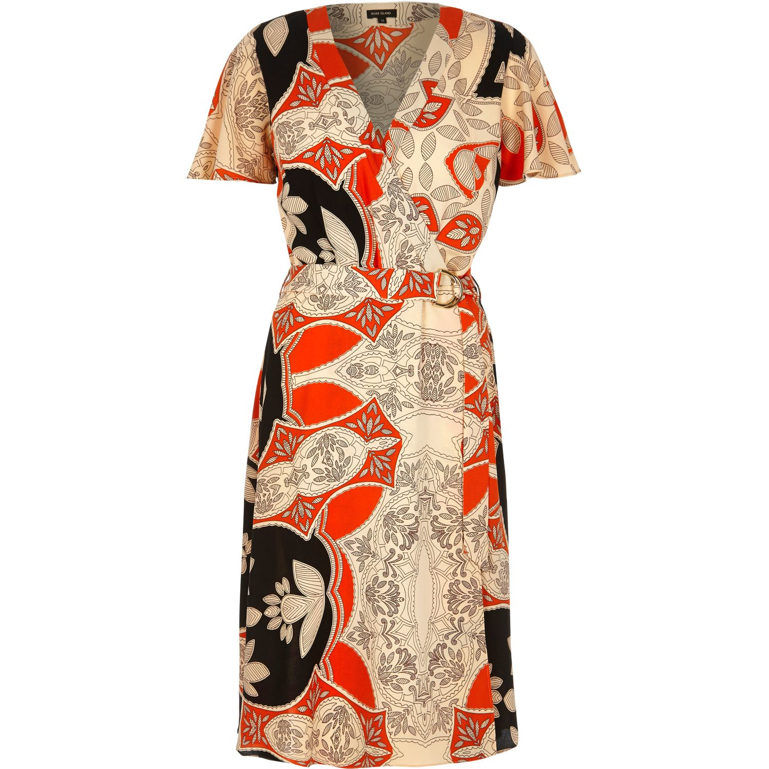 River island Orange Floral Print D-ring Midi Dress in Orange | Lyst