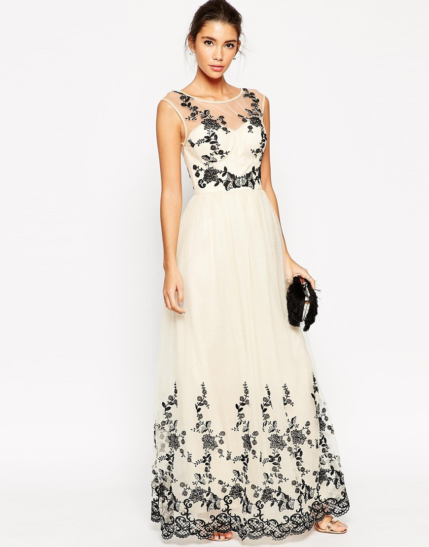 Premium Lace Embroidered Full Tulle Maxi Dress