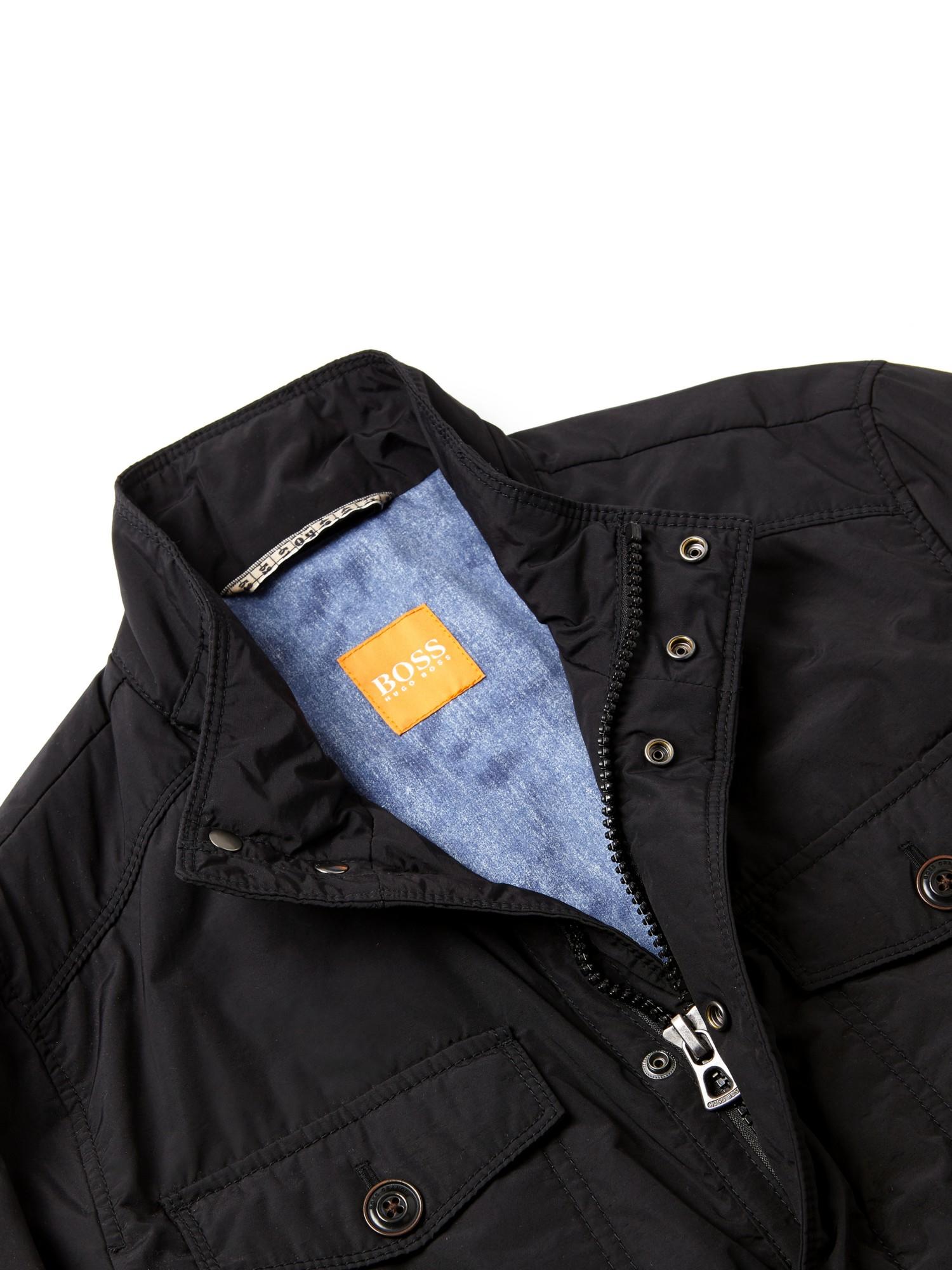 boss orange orgent 4 pocket field jacket in black for men. Black Bedroom Furniture Sets. Home Design Ideas
