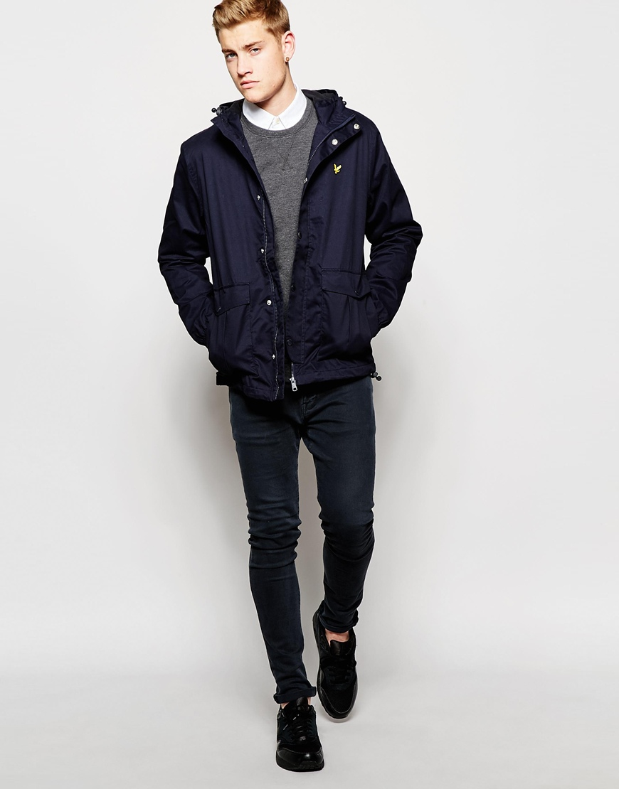 lyle scott parka with microfleece lining in blue for men lyst. Black Bedroom Furniture Sets. Home Design Ideas