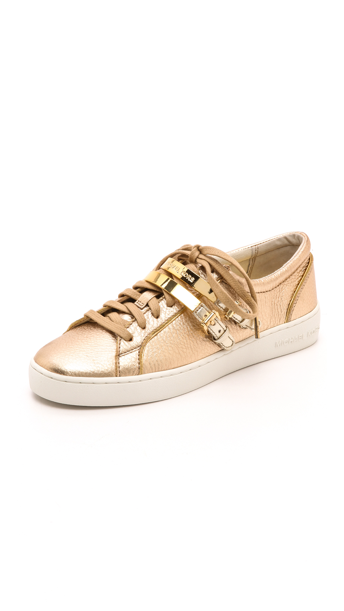 michael michael kors kimberly metallic sneakers pale gold in metallic lyst. Black Bedroom Furniture Sets. Home Design Ideas