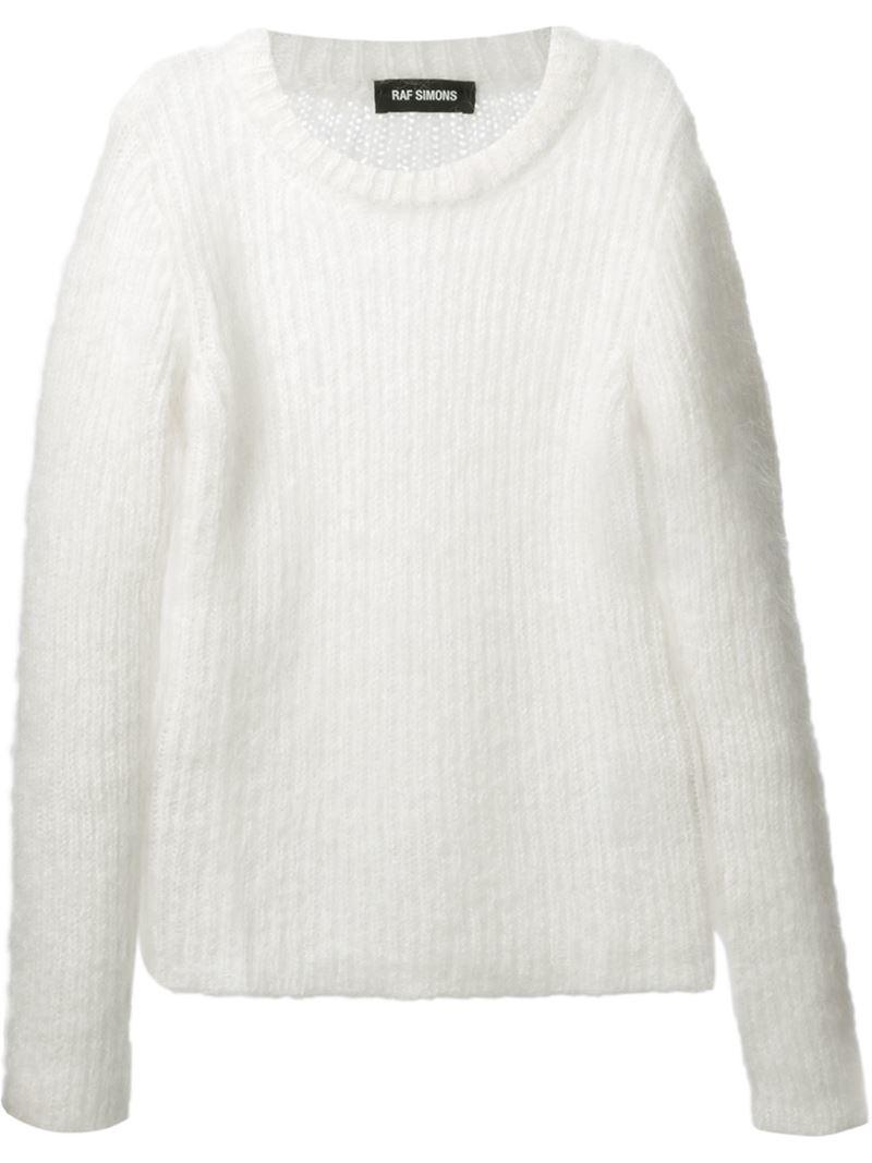 Raf simons Fluffy Sweater in White for Men | Lyst