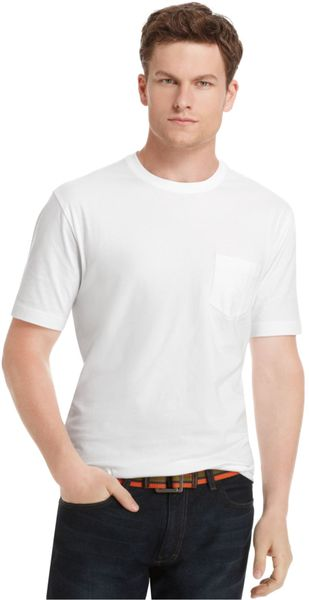 Izod big and tall solid pocket t shirt in white for men lyst for Izod big and tall shirts