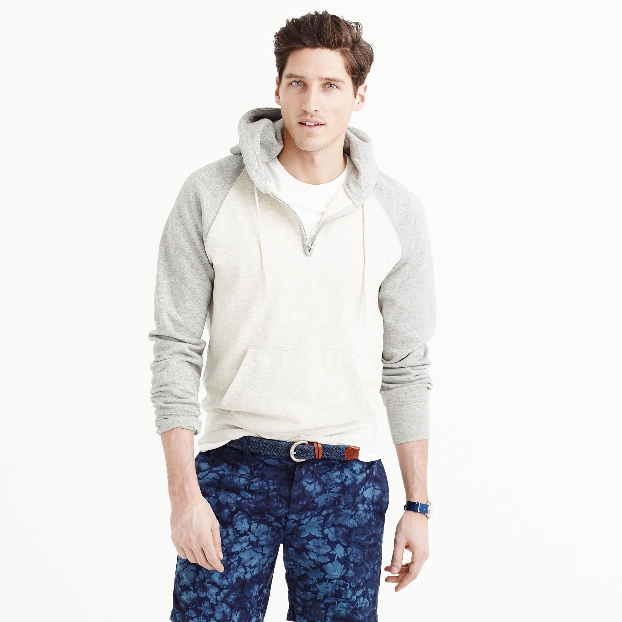 lyst j crew half zip hoodie in colorblock in gray for men. Black Bedroom Furniture Sets. Home Design Ideas