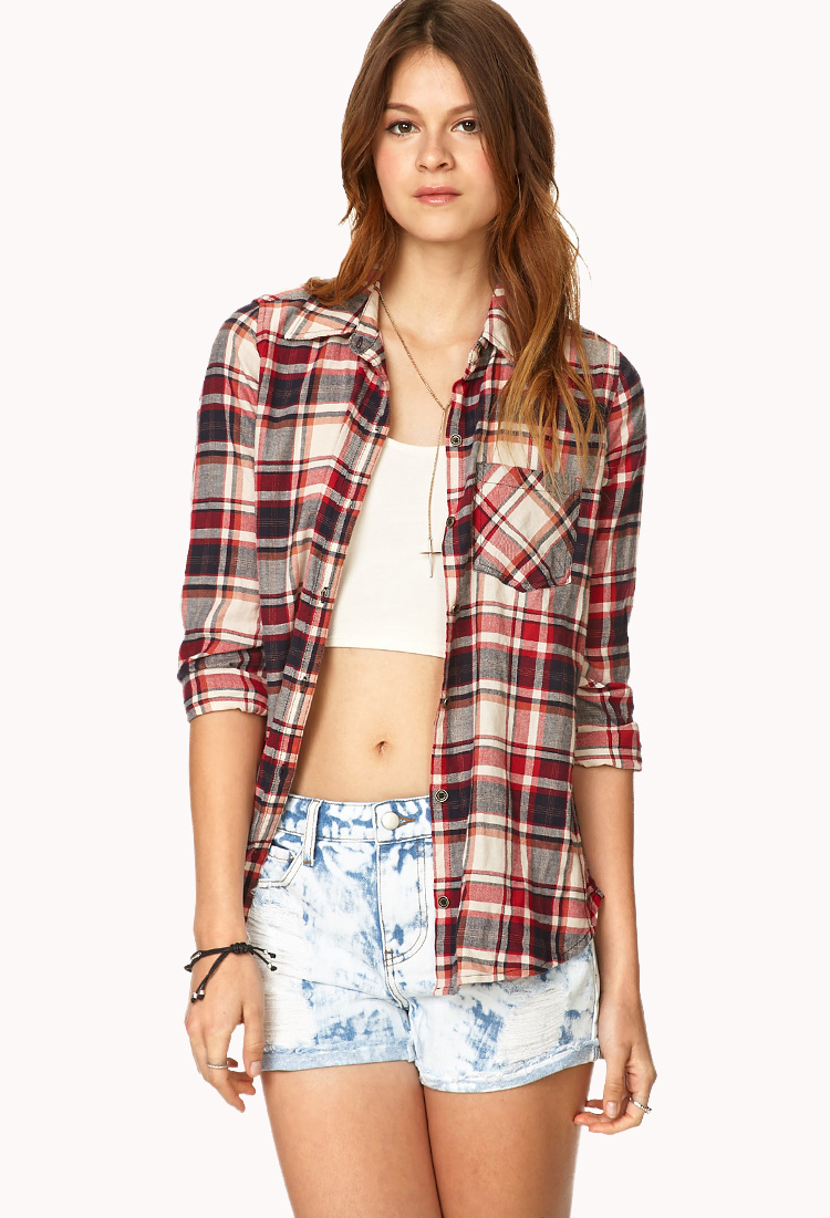 Forever 21 Tartan Plaid Button Front Shirt In Red Lyst