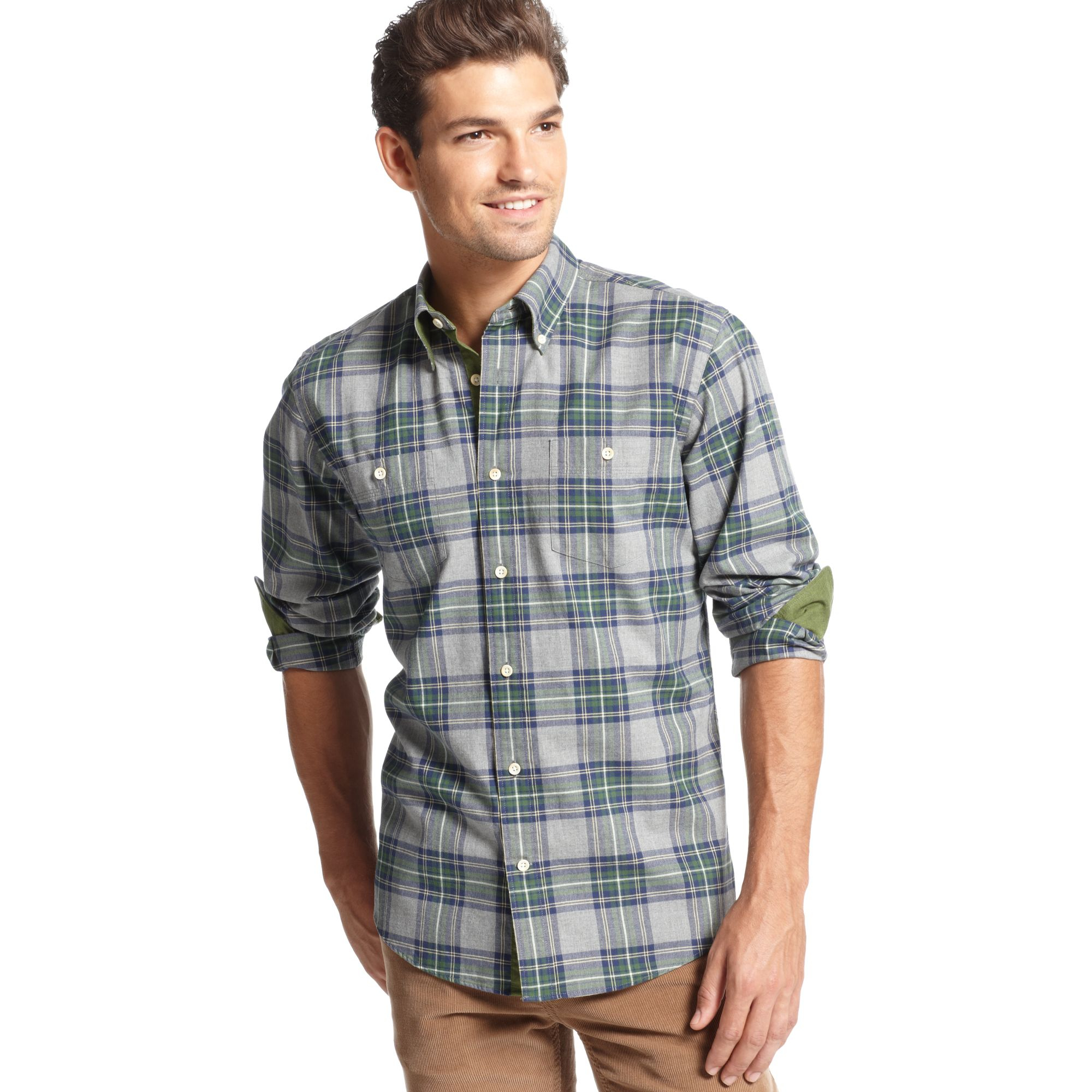 Tommy hilfiger long sleeve slim fit zoron flannel shirt in for Men s lightweight flannel shirts