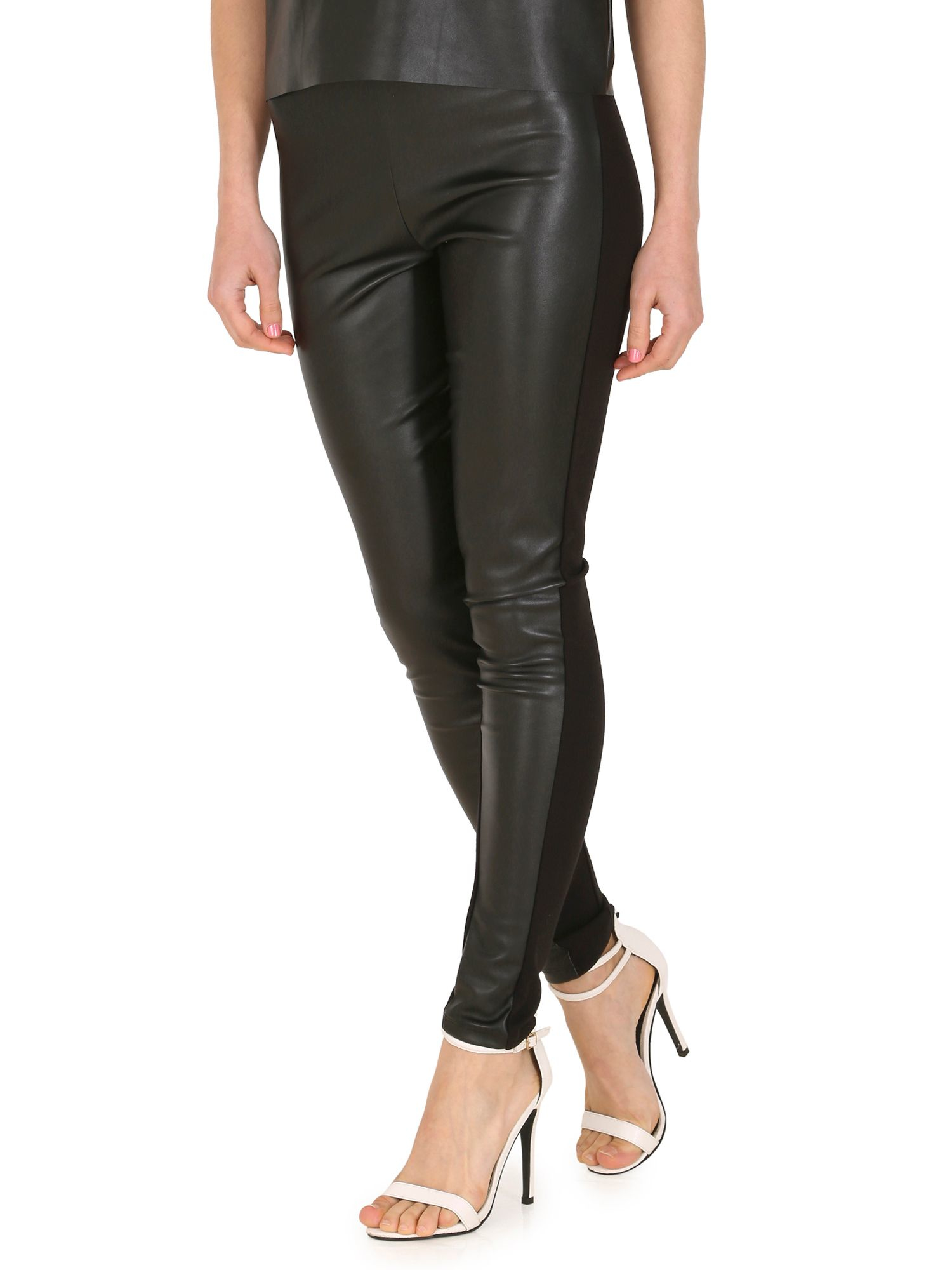 Plus Size Faux Leather Panel Ponte Leggings SPANX Plus Size Faux Leather Panel Ponte Leggings. $ $ (40% Off) Be the First to Write a Review. SPANX Plus Size Faux Leather Panel Ponte Leggings. $ $ (40% Off) Be the First to Write a Review. Color.