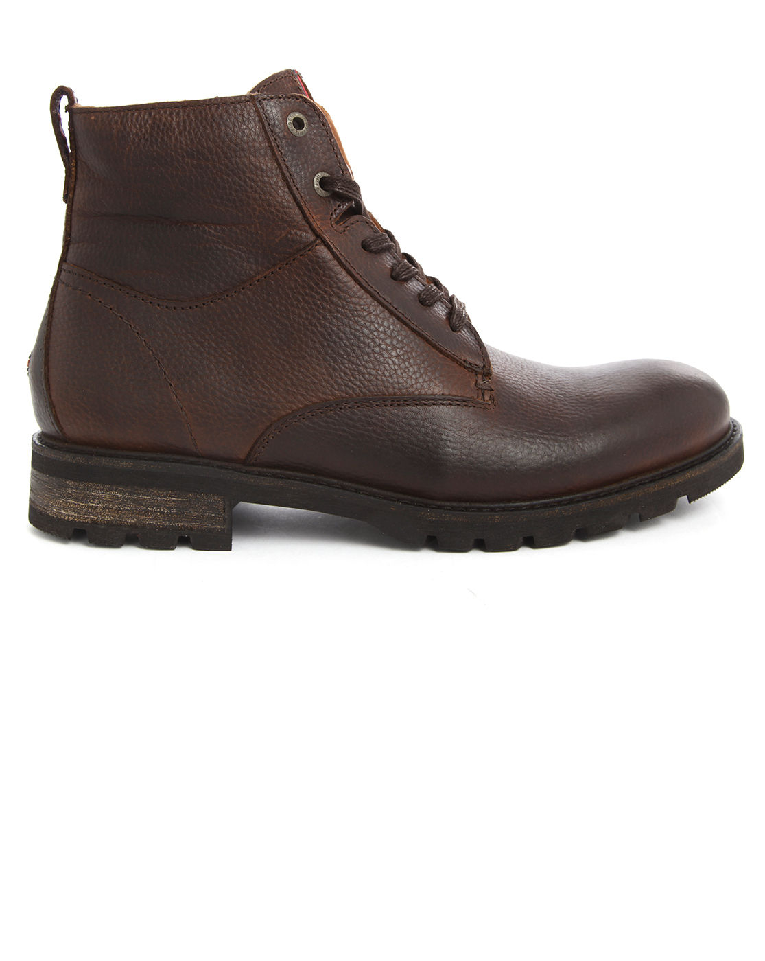 Tommy Hilfiger Curtis Brown Leather Zip Fur Boots In Brown