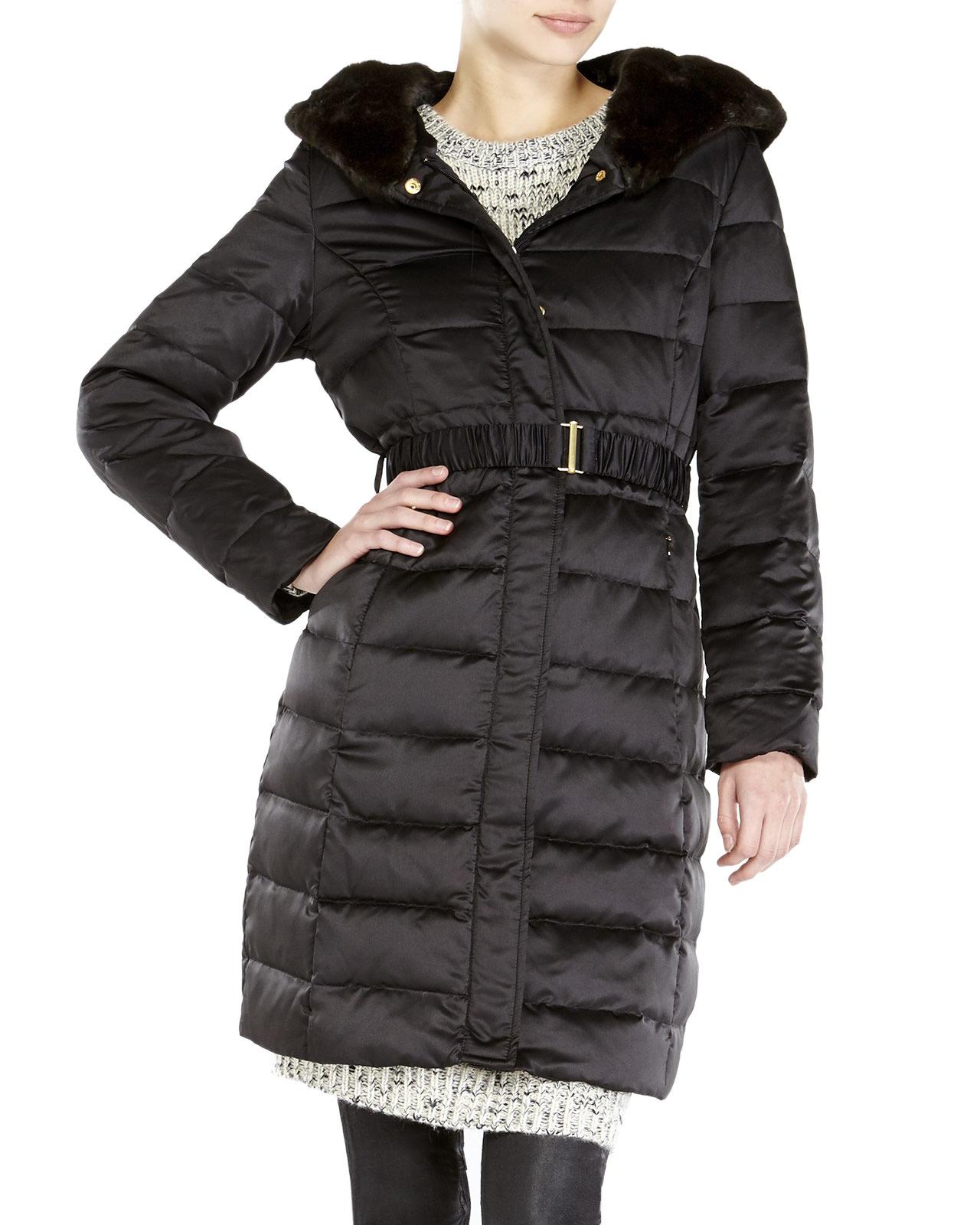 2c8ca80fe69 Ellen Tracy Black Petite Faux Fur Trim Hooded Long Down Coat