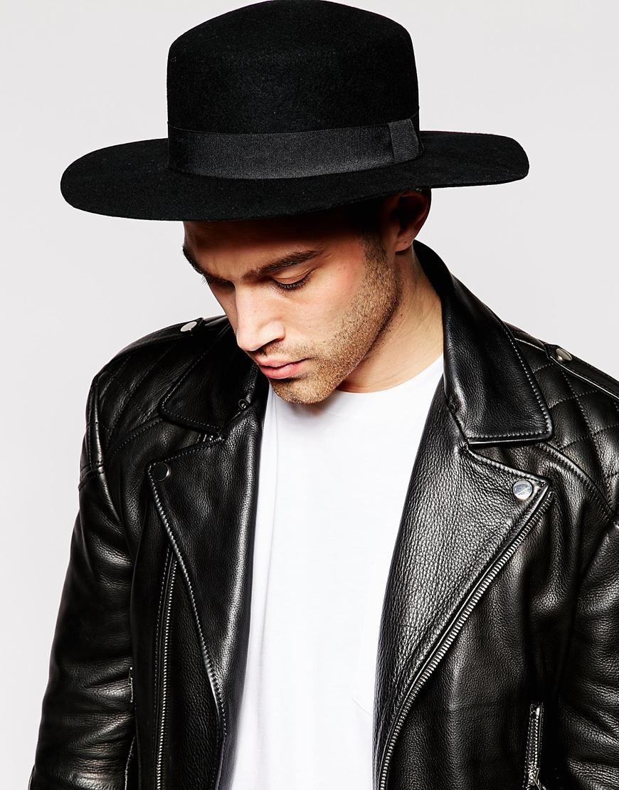 fa43002e810 ASOS Flat Top Hat In Black Felt With Wide Brim in Black for Men - Lyst