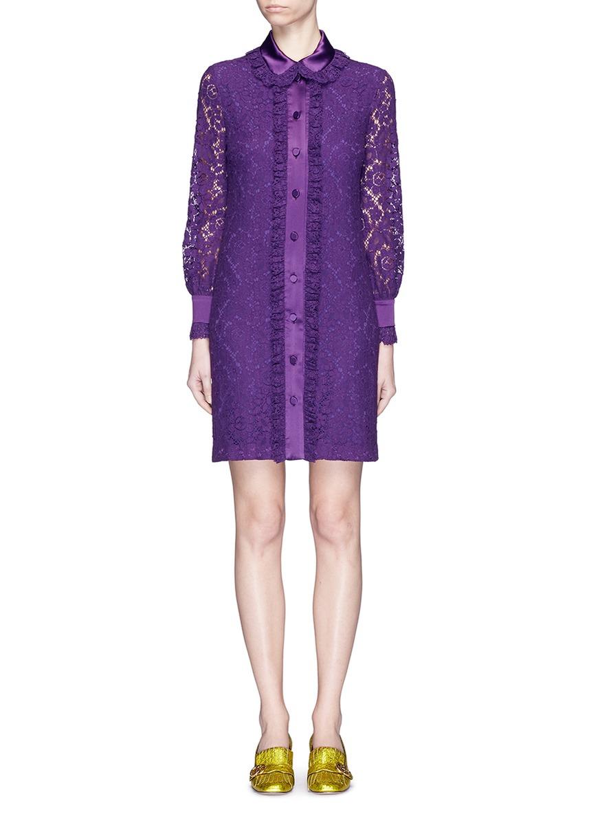 a312b6c86 Gucci Ruffle Trim Cluny Lace Shirt Dress in Purple - Lyst